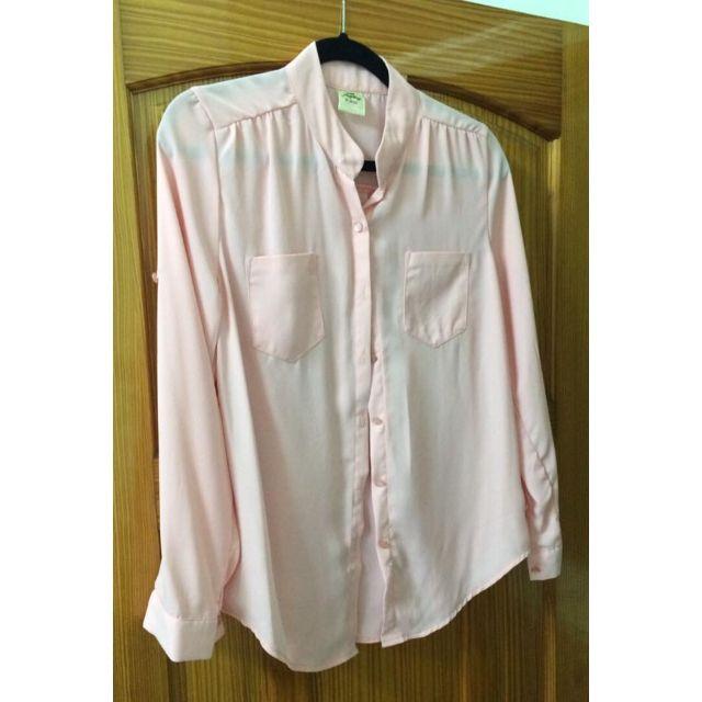 V領 寬鬆版 有口袋 雪紡衫 長袖可調長度(價格是單件價) -粉橘