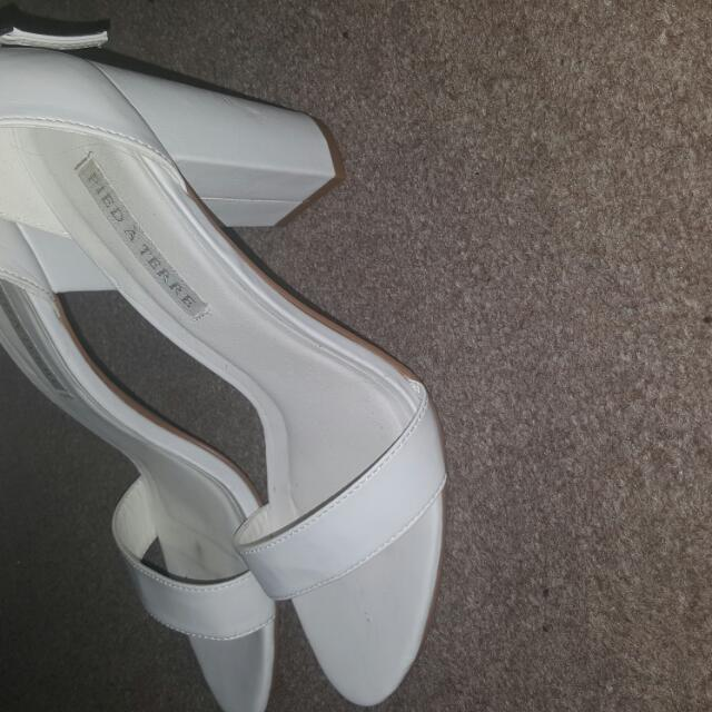 High Heel Thick Heel White