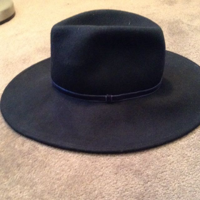 Wide Brim Navy Fedora Hat