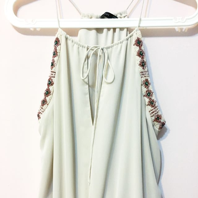 Zara beaded maxi dress in beige womens fashion on carousell stopboris Images