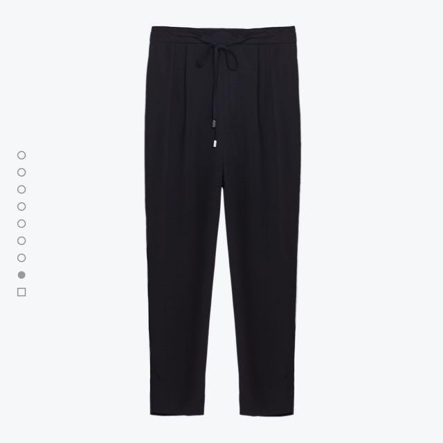 Zara drawstring flowing pants (black)