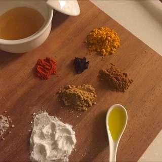 天然 去角質 沒白 淡斑 ph 還原 保濕面膜 珍珠粉 薑黃粉 薑母粉 肉桂 香草子 卡宴胡椒 蜂蜜 橄欖油 有機