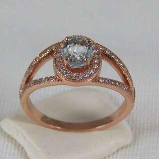 925純銀玫瑰金 海藍寶戒指(三月誕生石)