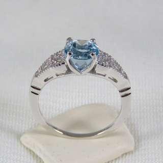 925純銀 海藍寶戒指(三月誕生石)