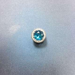 PANDORA藍色帶鑽吊飾