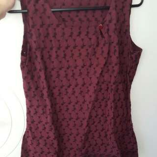 Maroon Top Fits Size 8 & 10