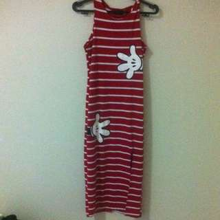 Red Dress With White Stripes