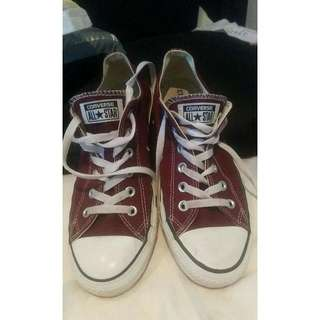 Maroon Converse Low Cuts