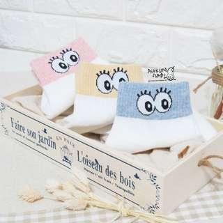 襪呼~買十送一 眼睛吧眨韓國襪 (藍/黃/粉)