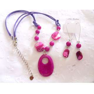 Pink Stone Necklace & Earrings