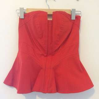 Red Peplum Top/Buster (XS / Size 8)