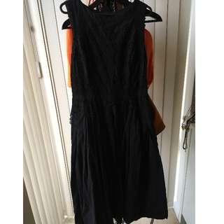 Topshop Broderie Cotton Midi Dress