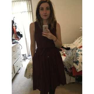 Princess Highway Burgundy Midi Shirt Dress