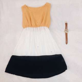 希臘風甜美撞色洋裝