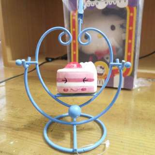 藍色愛心造型粉紅小蛋糕名片夾桌飾擺飾