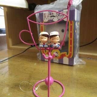 粉紅咖啡杯造型情侶搖擺名片夾桌飾擺飾