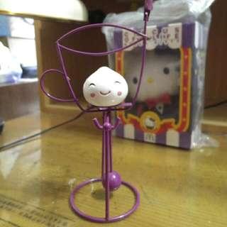 紫色咖啡杯造型白包子搖擺名片夾桌飾擺飾