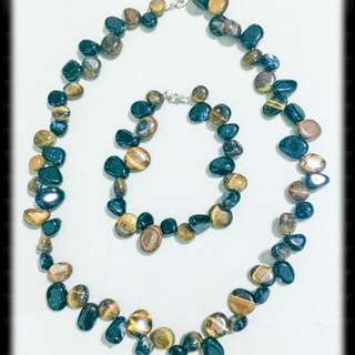 Tigers Eye And Agate Necklace And Bracelet Set