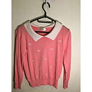 (BN) Pink With White Bow Sweater