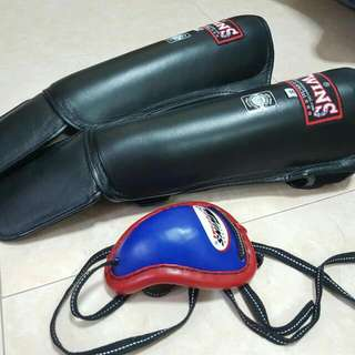 Twins leather Muay Thai Shin Guards (Size S)