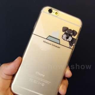 可愛 狗狗 吃蘋果 iPhone 5s se 6/s plus 雪納瑞 手機殼 保護套 軟殼