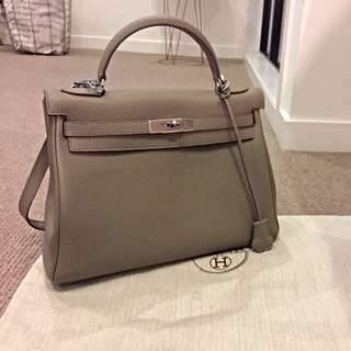 Hermes Inspired Kelly Leather Grey Tote