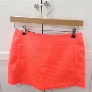 Topshop Neon Orange Skirt