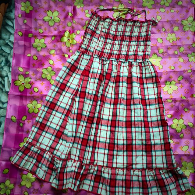 格子風小洋裝