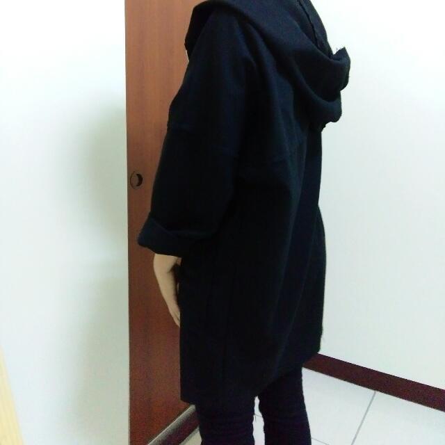 黑色毛呢薄外套
