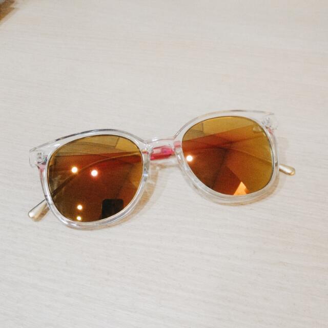 粉黃彩色反光鏡面太陽眼鏡 墨鏡