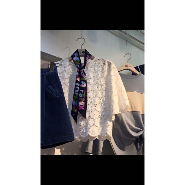 韓國帶回 白色縷空短版上衣