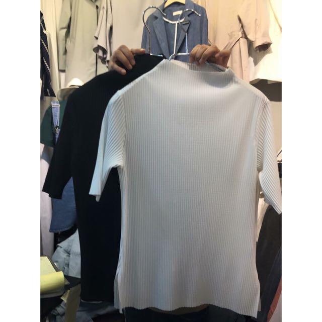 韓國帶回 百折微立領白色上衣