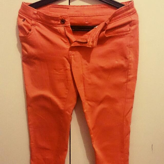 Coral Orange Denim