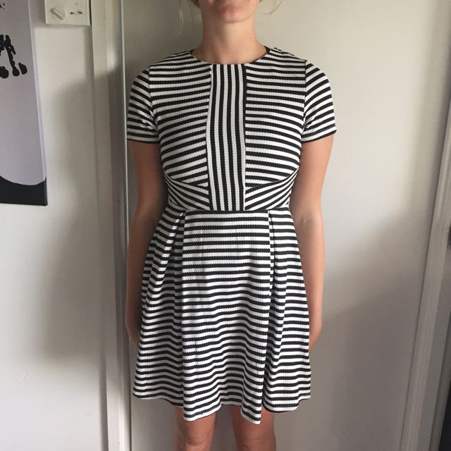 Striped Black And White Dress, Size 8 And Cardigan Size 10