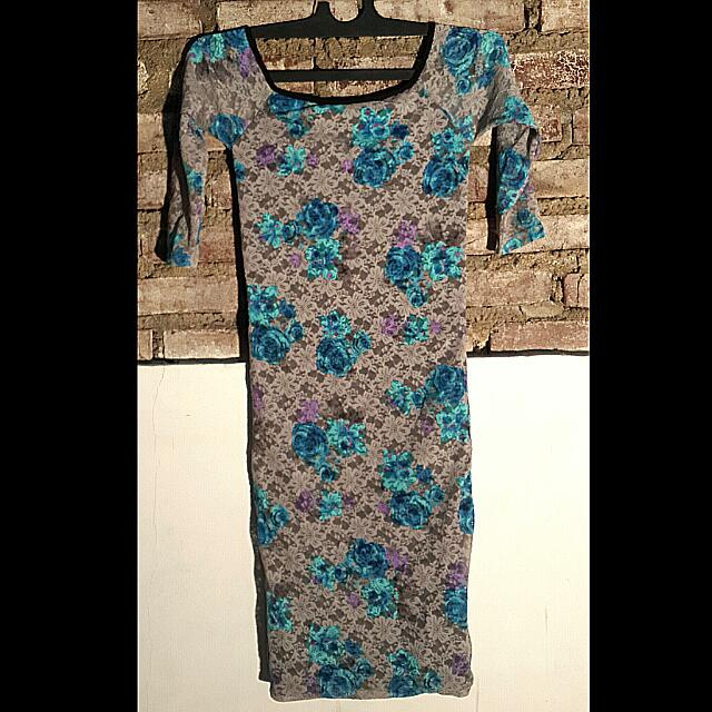 Flowery Lace Dress Blue