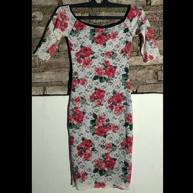 Flowery Lace Dress White
