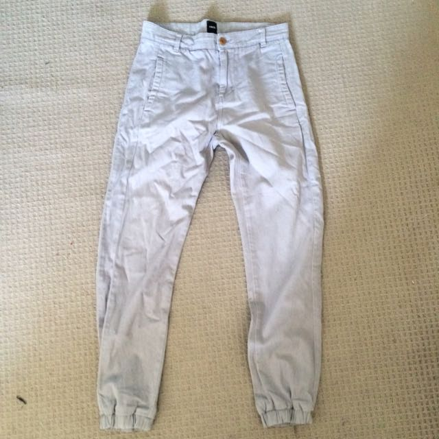 Grey Elastic Bottom Chinos_ 30 Waist