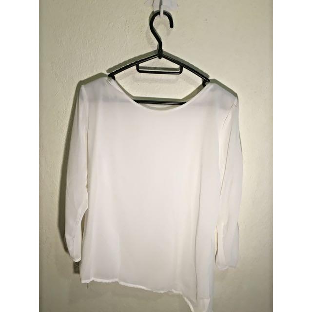 (BN) White Long Sleeve Blouse