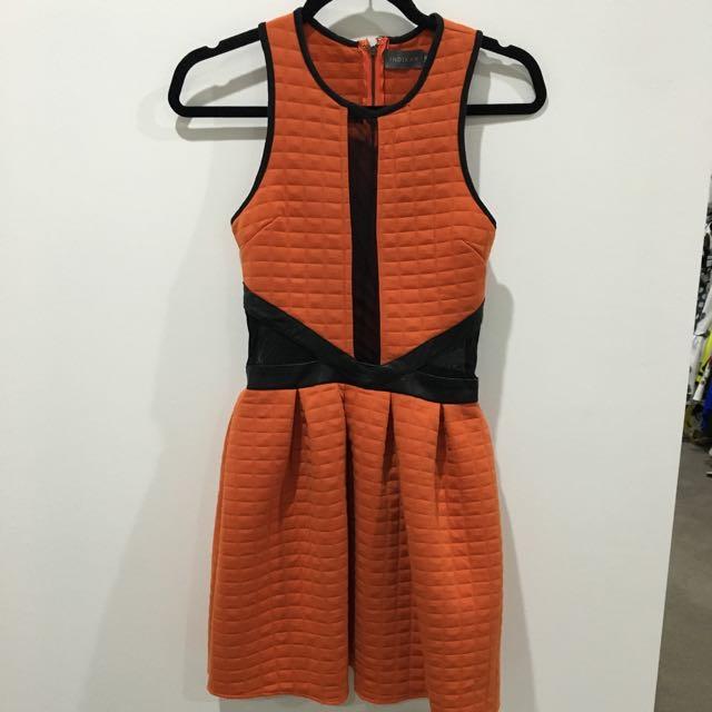 Orange & Black Quilted Winter Dress Size 8