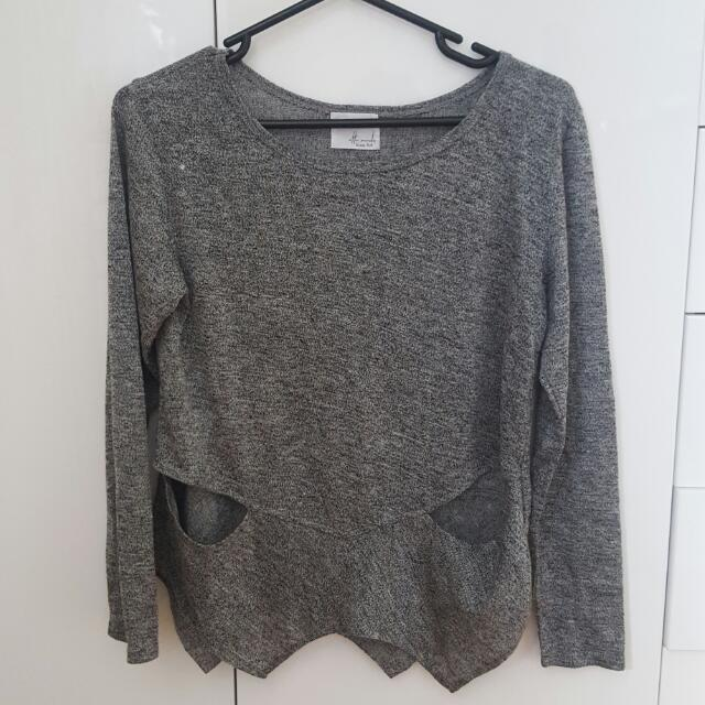 Ottomode Grey Jumper With Cutout
