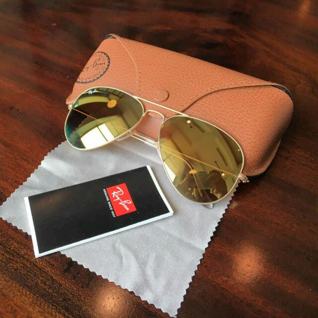 RayBan Mirror Gold Lense Sunglasses 100% Original