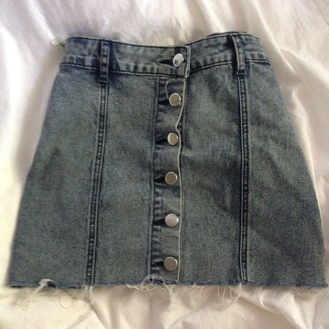Ripped Denim Skirt