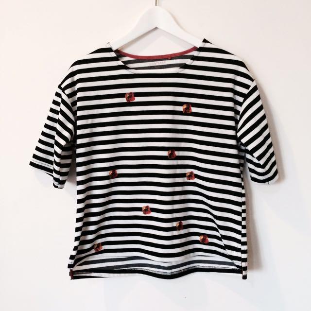 Starmimi設計款印花挺版條紋上衣