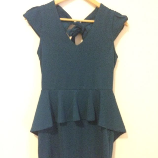 Teal Peplum Dress (CS / Size 8)