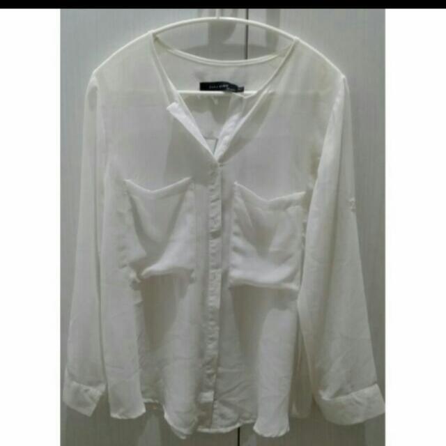 小v領透膚雪紡襯衫