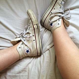 womens authentic white high top converse
