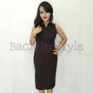 Dress Casual Bodycon Brown Coklat