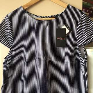 Striped Cropped Cap Sleeve Wish Top