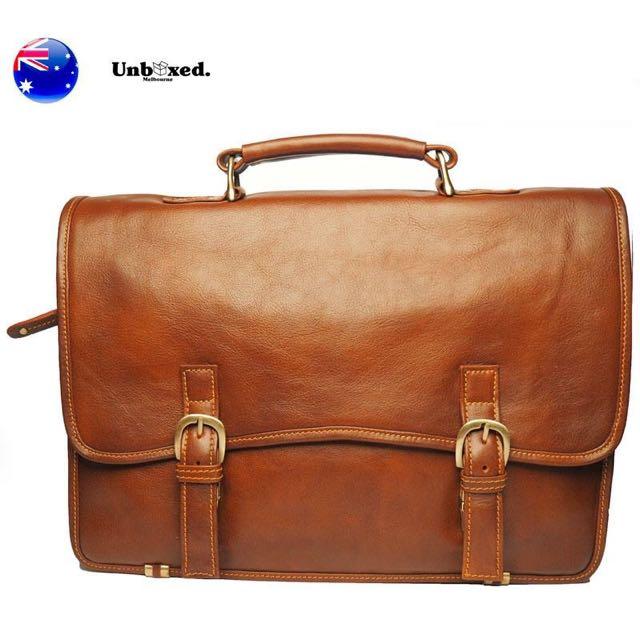 100% Genuine Soft Cow Leather Messenger Briefcase