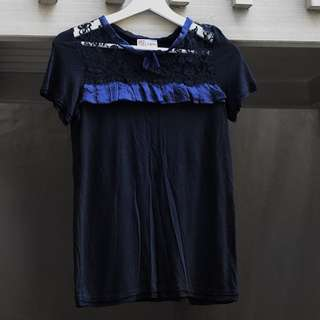 Red Valentino Navy And Black Lace Top